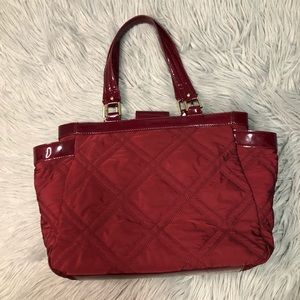 Talbots Deep Red Patent Quilt Bag